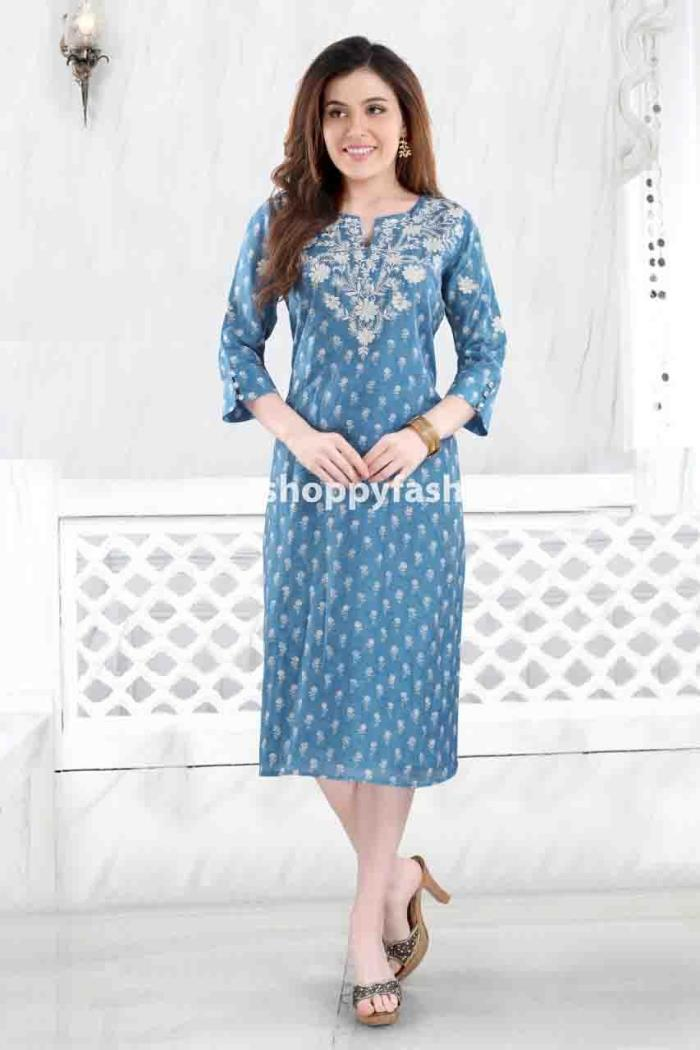 Blue Color Party Wear Gown Kurti
