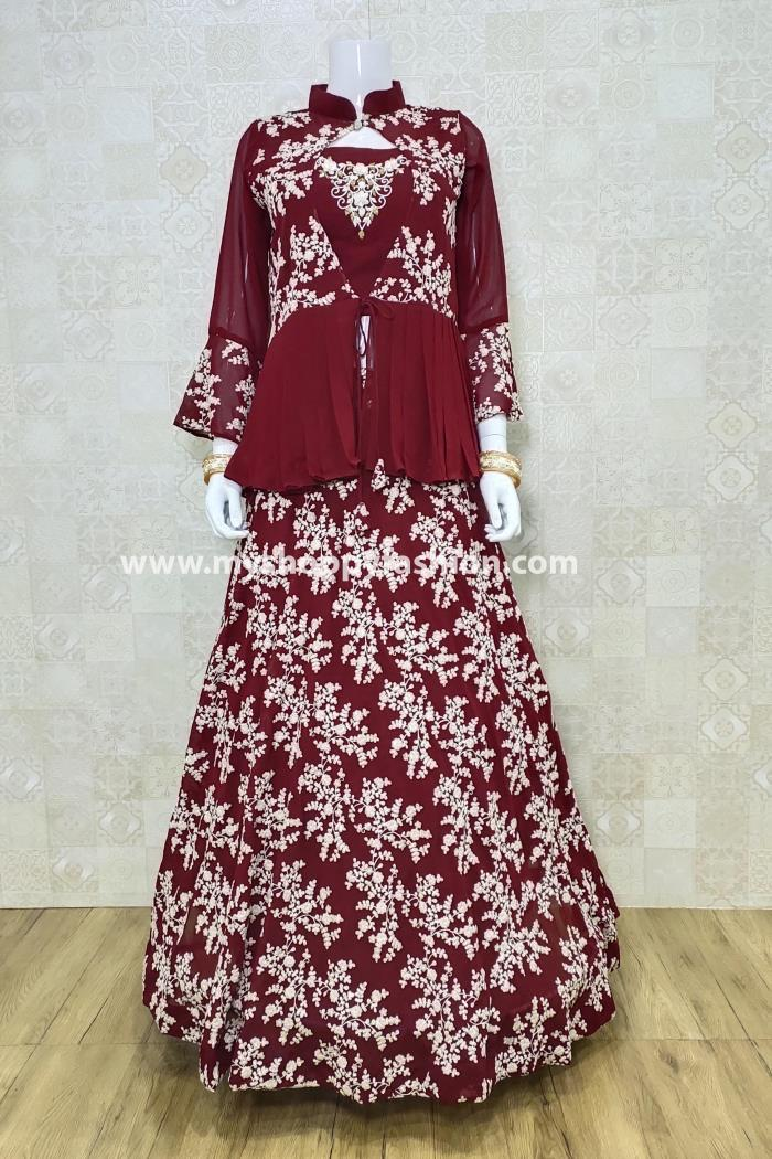 Maroon Color Party Wear Lehenga Choli With Koti and Dupatta
