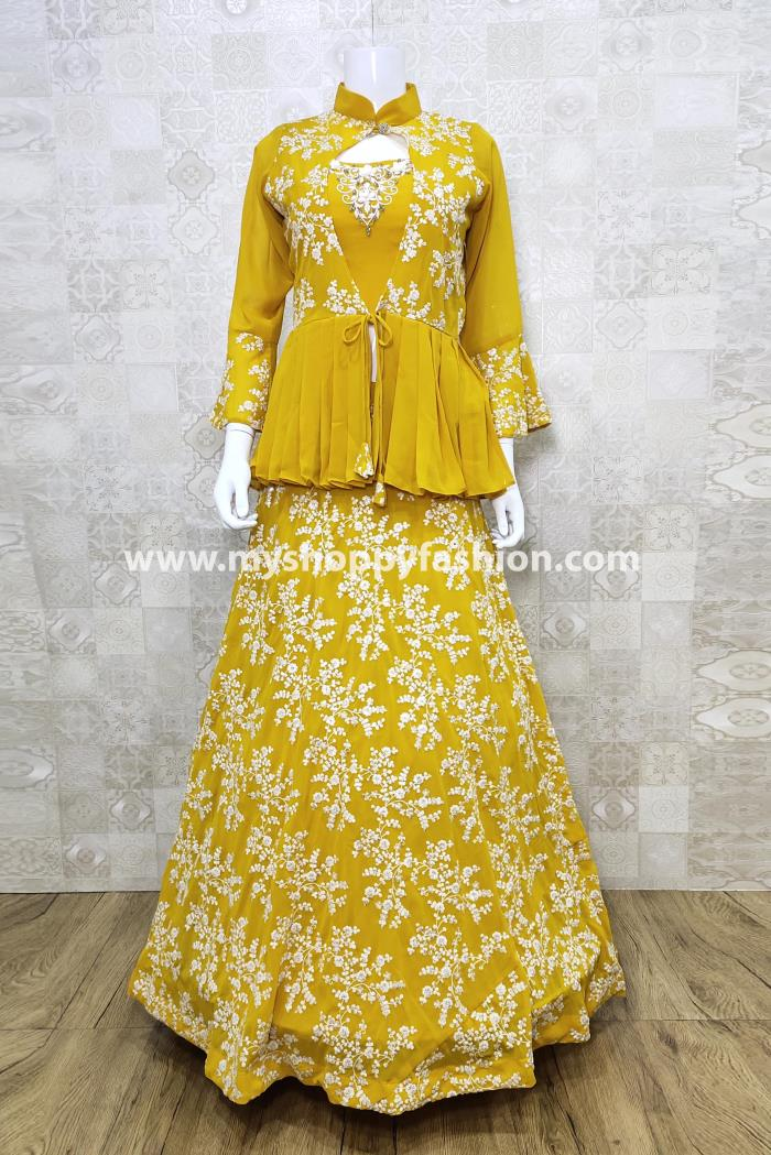 Yellow Color Party Wear Lehenga Choli With Koti and Dupatta
