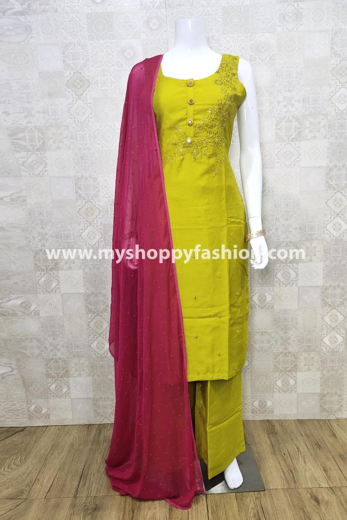 Yellow Color Party Wear Kurti Set With Dupatta